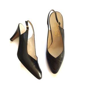 Salvatore Ferragamo Black Leather Sling-Back Heels